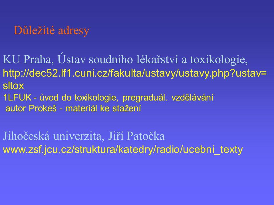 Důležité adresy KU Praha, Ústav soudního lékařství a toxikologie, http://dec52.lf1.cuni.cz/fakulta/ustavy/ustavy.php?ustav= sltox 1LFUK - úvod do toxi