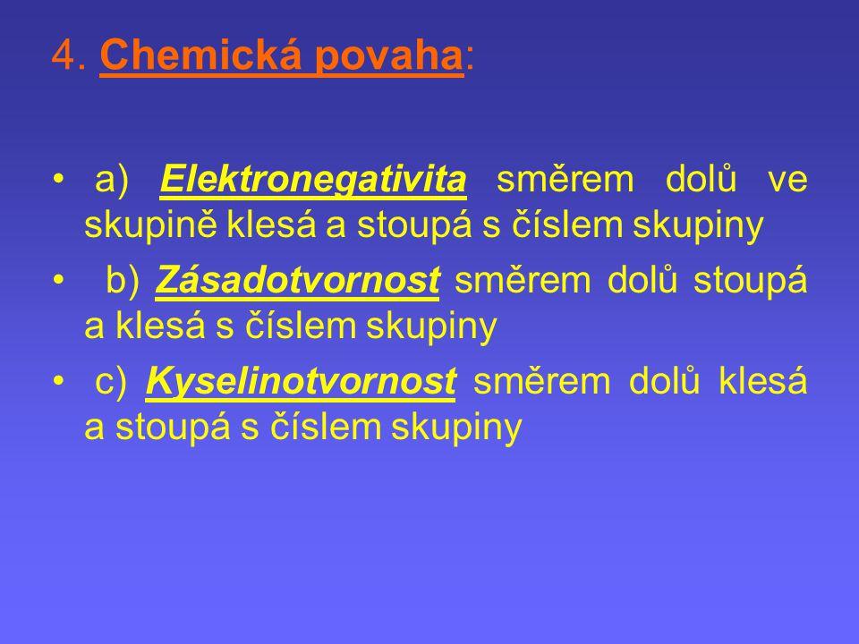 4. Chemická povaha: a) Elektronegativita směrem dolů ve skupině klesá a stoupá s číslem skupiny b) Zásadotvornost směrem dolů stoupá a klesá s číslem