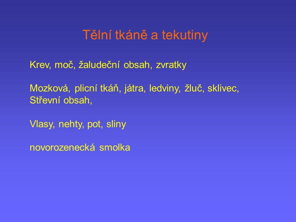 Tělní tkáně a tekutiny Krev, moč, žaludeční obsah, zvratky Mozková, plicní tkáň, játra, ledviny, žluč, sklivec, Střevní obsah, Vlasy, nehty, pot, slin