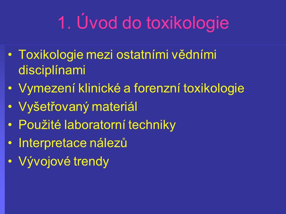 1. Úvod do toxikologie Toxikologie mezi ostatními vědními disciplínami Vymezení klinické a forenzní toxikologie Vyšetřovaný materiál Použité laborator
