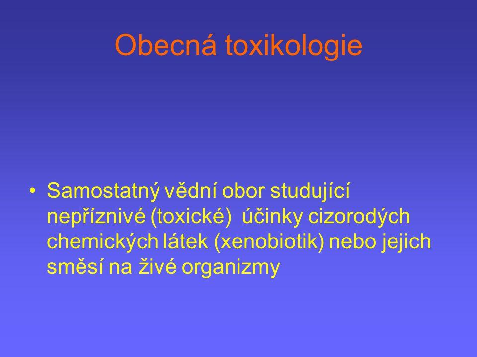 Obecná toxikologie Samostatný vědní obor studující nepříznivé (toxické) účinky cizorodých chemických látek (xenobiotik) nebo jejich směsí na živé orga