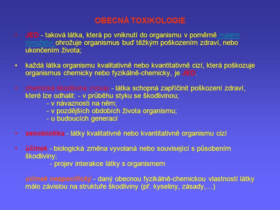 OBECNÁ TOXIKOLOGIE JED - taková látka, která po vniknutí do organismu v poměrně malém množství ohrožuje organismus buď těžkým poškozením zdraví, nebo