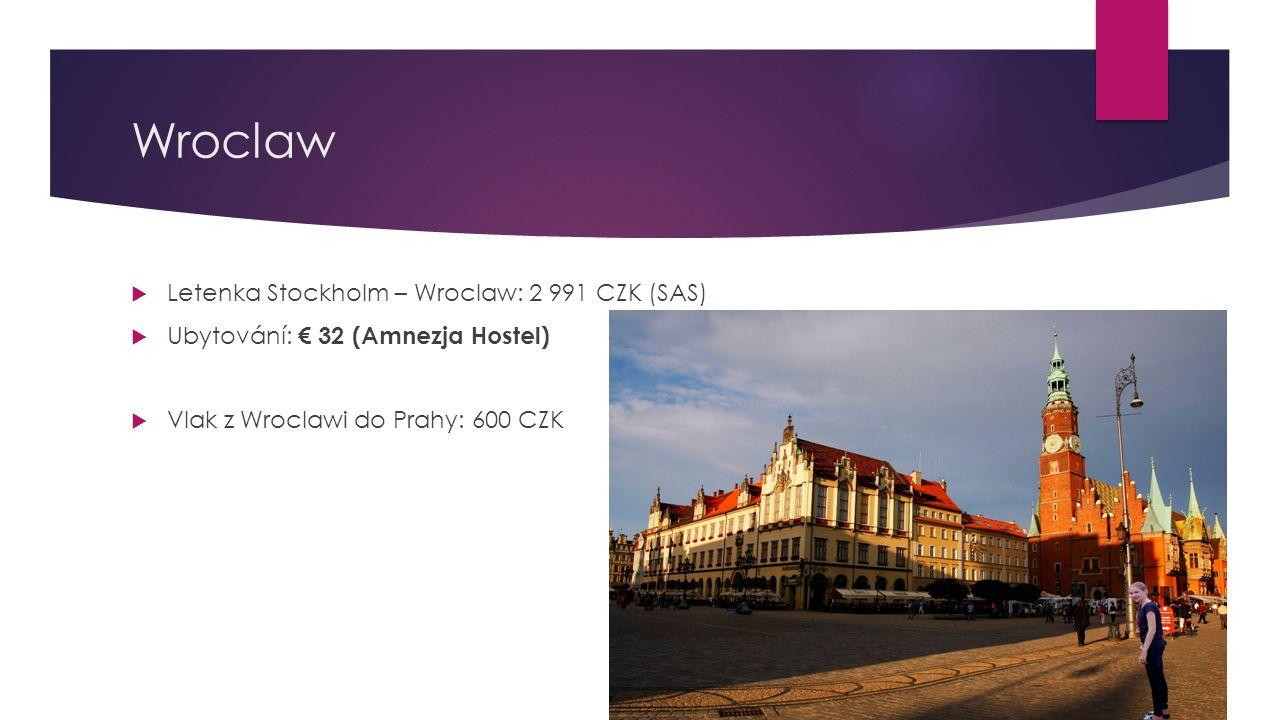 Wroclaw  Letenka Stockholm – Wroclaw: 2 991 CZK (SAS)  Ubytování: € 32 (Amnezja Hostel)  Vlak z Wroclawi do Prahy: 600 CZK
