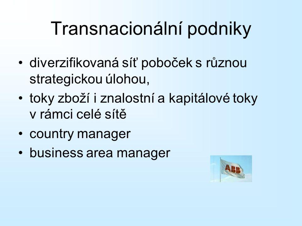 diverzifikovaná síť poboček s různou strategickou úlohou, toky zboží i znalostní a kapitálové toky v rámci celé sítě country manager business area man