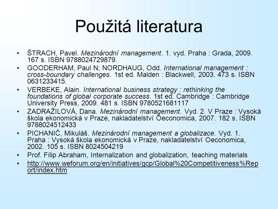 Použitá literatura ŠTRACH, Pavel. Mezinárodní management. 1. vyd. Praha : Grada, 2009. 167 s. ISBN 9788024729879. GOODERHAM, Paul N; NORDHAUG, Odd. In