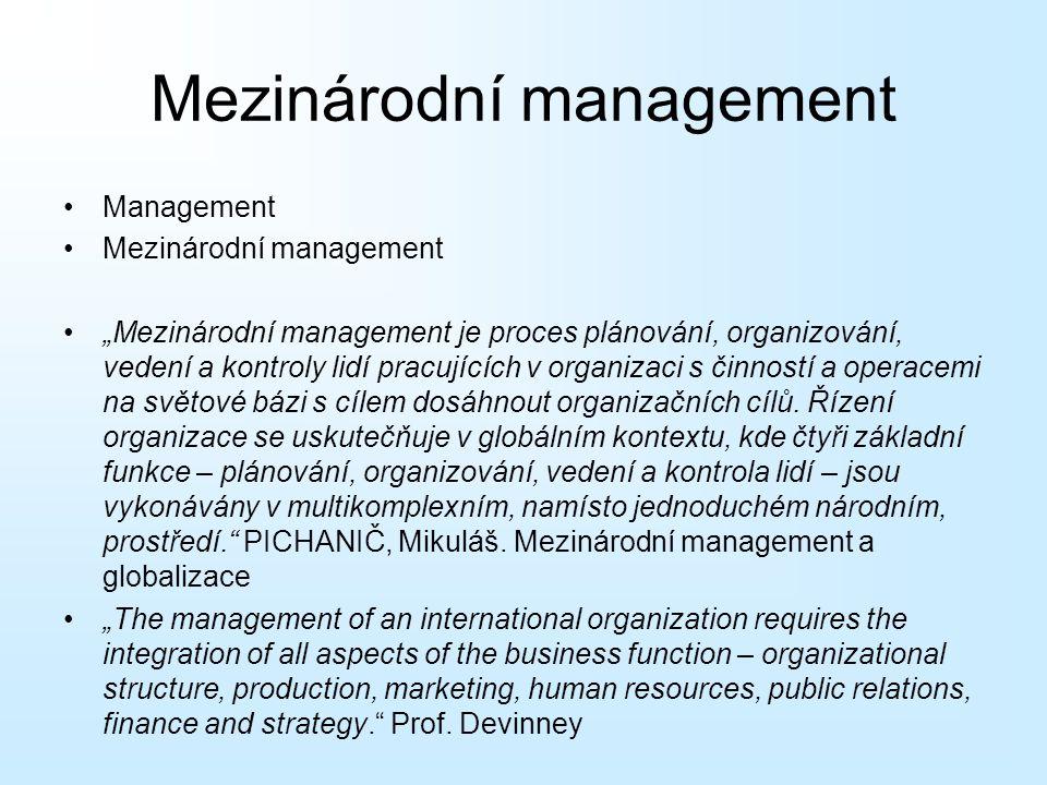 """Mezinárodní management Management Mezinárodní management """"Mezinárodní management je proces plánování, organizování, vedení a kontroly lidí pracujících"""