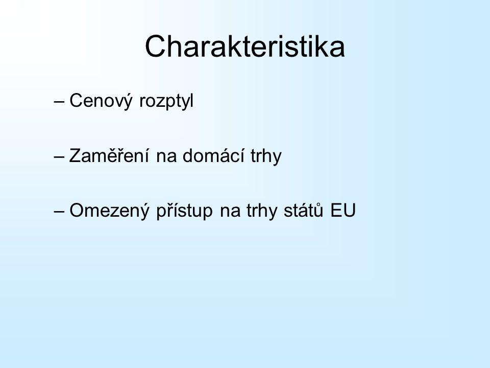 Charakteristika –Cenový rozptyl –Zaměření na domácí trhy –Omezený přístup na trhy států EU