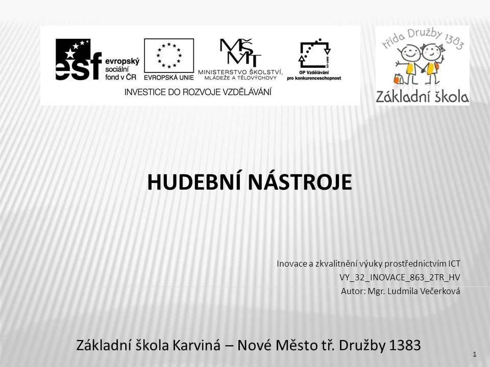 HUDEBNÍ NÁSTROJE Základní škola Karviná – Nové Město tř.