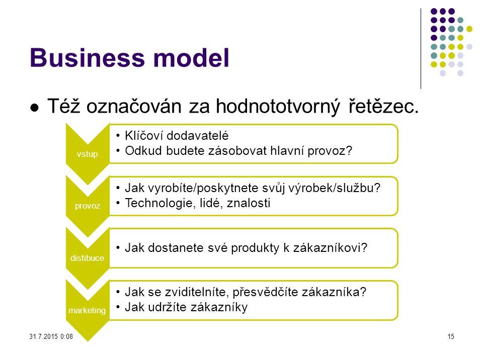 Business model Též označován za hodnototvorný řetězec. vstup Klíčoví dodavatelé Odkud budete zásobovat hlavní provoz? provoz Jak vyrobíte/poskytnete s