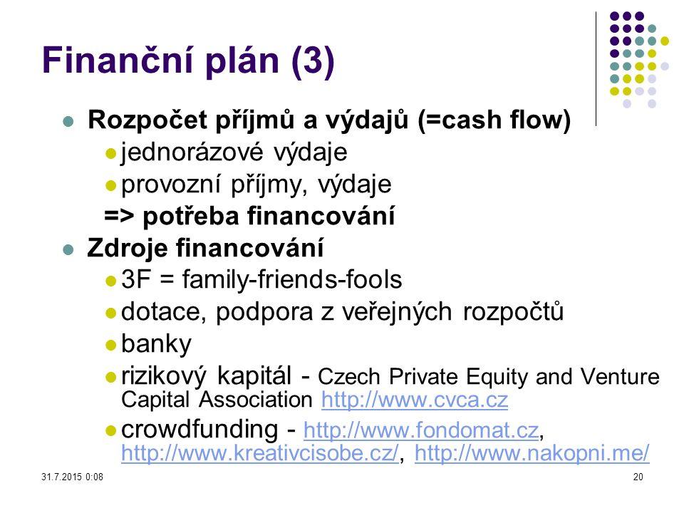 Finanční plán (3) Rozpočet příjmů a výdajů (=cash flow) jednorázové výdaje provozní příjmy, výdaje => potřeba financování Zdroje financování 3F = fami