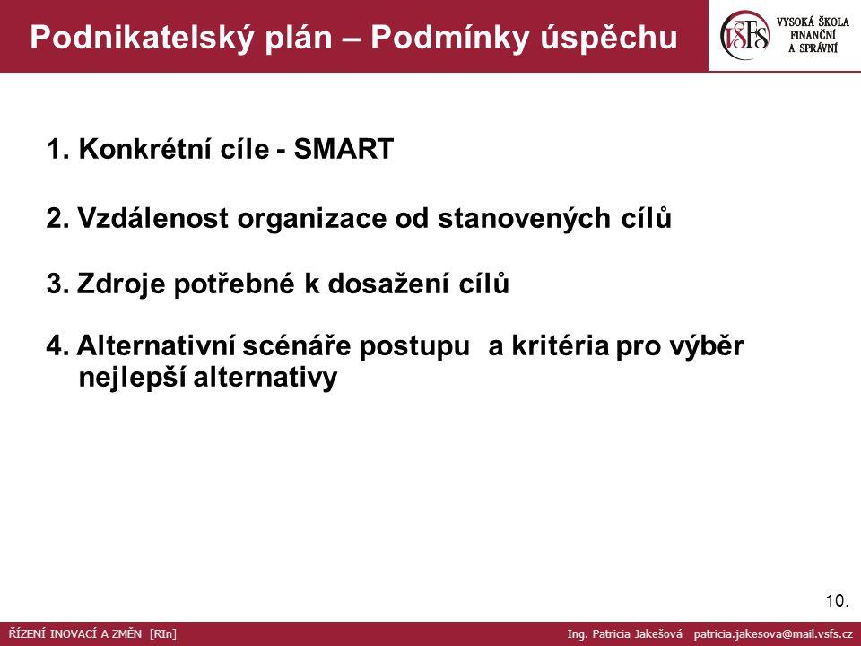 10. Podnikatelský plán – Podmínky úspěchu 1.Konkrétní cíle - SMART 2.