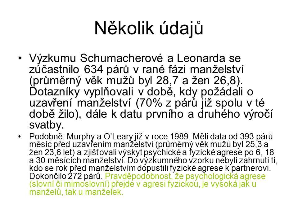 Několik údajů Výzkumu Schumacherové a Leonarda se zúčastnilo 634 párů v rané fázi manželství (průměrný věk mužů byl 28,7 a žen 26,8).