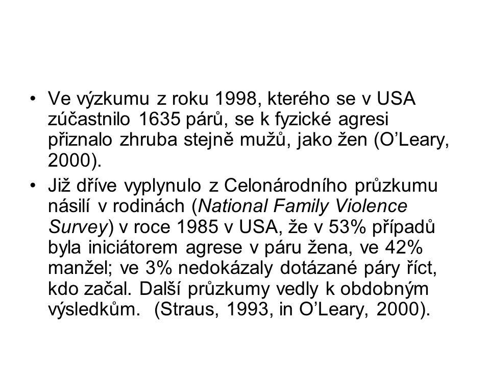 Ve výzkumu z roku 1998, kterého se v USA zúčastnilo 1635 párů, se k fyzické agresi přiznalo zhruba stejně mužů, jako žen (O'Leary, 2000).