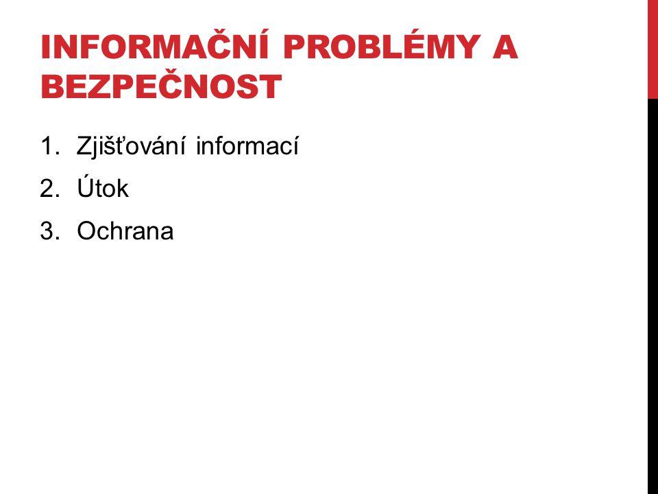INFORMAČNÍ PROBLÉMY A BEZPEČNOST 1.Zjišťování informací 2.Útok 3.Ochrana