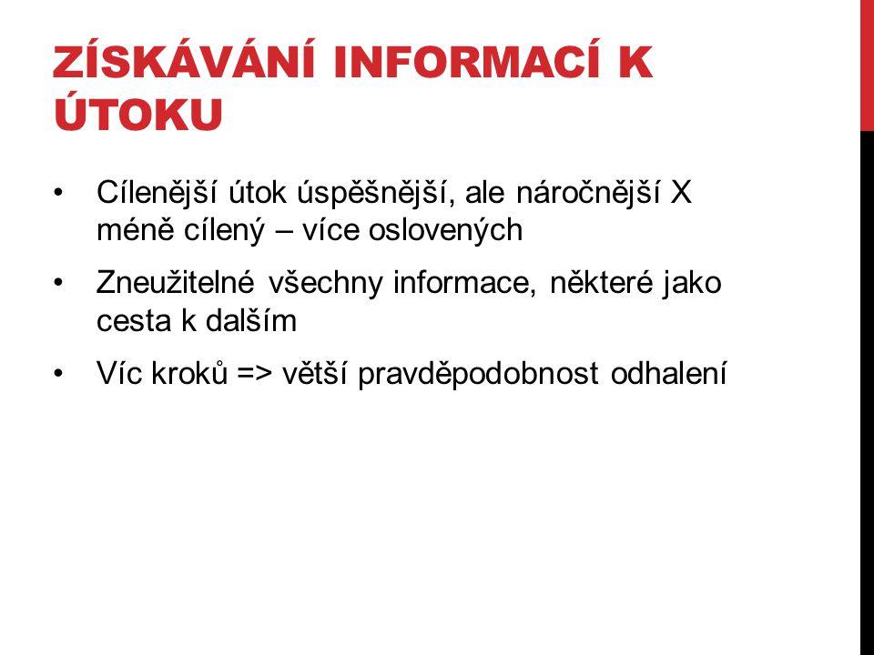 LEGÁLNÍ ZDROJE Soubory, stránky, příspěvky… vyhledatelné Použitý HW k ukládání dat Hlavičky zpráv Programy za informace (freeware, shareware, adware…) … Samotná oběť