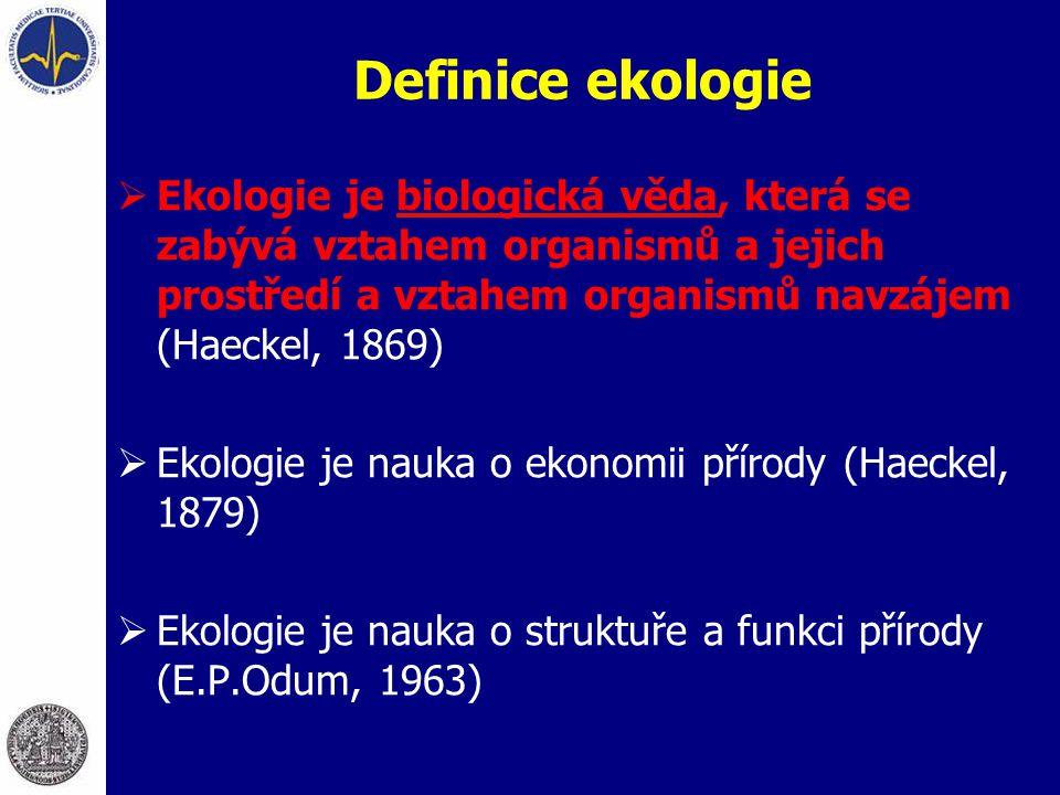 Definice ekologie  Ekologie je biologická věda, která se zabývá vztahem organismů a jejich prostředí a vztahem organismů navzájem (Haeckel, 1869)  E
