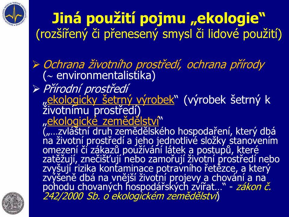 """Jiná použití pojmu """"ekologie"""" (rozšířený či přenesený smysl či lidové použití)  Ochrana životního prostředí, ochrana přírody (  environmentalistika)"""