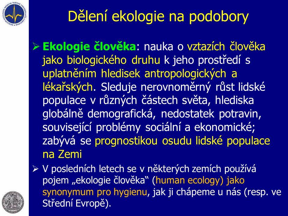 Dělení ekologie na podobory  Ekologie člověka: nauka o vztazích člověka jako biologického druhu k jeho prostředí s uplatněním hledisek antropologický