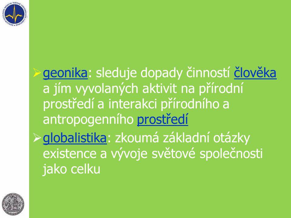  geonika: sleduje dopady činností člověka a jím vyvolaných aktivit na přírodní prostředí a interakci přírodního a antropogenního prostředí geonikačlo