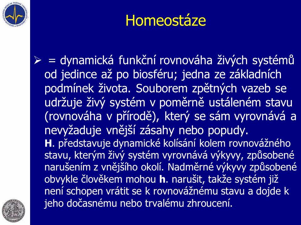 Homeostáze  = dynamická funkční rovnováha živých systémů od jedince až po biosféru; jedna ze základních podmínek života. Souborem zpětných vazeb se u