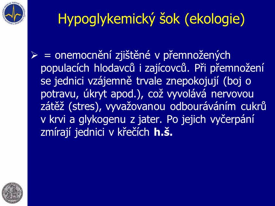 Hypoglykemický šok (ekologie)  = onemocnění zjištěné v přemnožených populacích hlodavců i zajícovců. Při přemnožení se jednici vzájemně trvale znepok