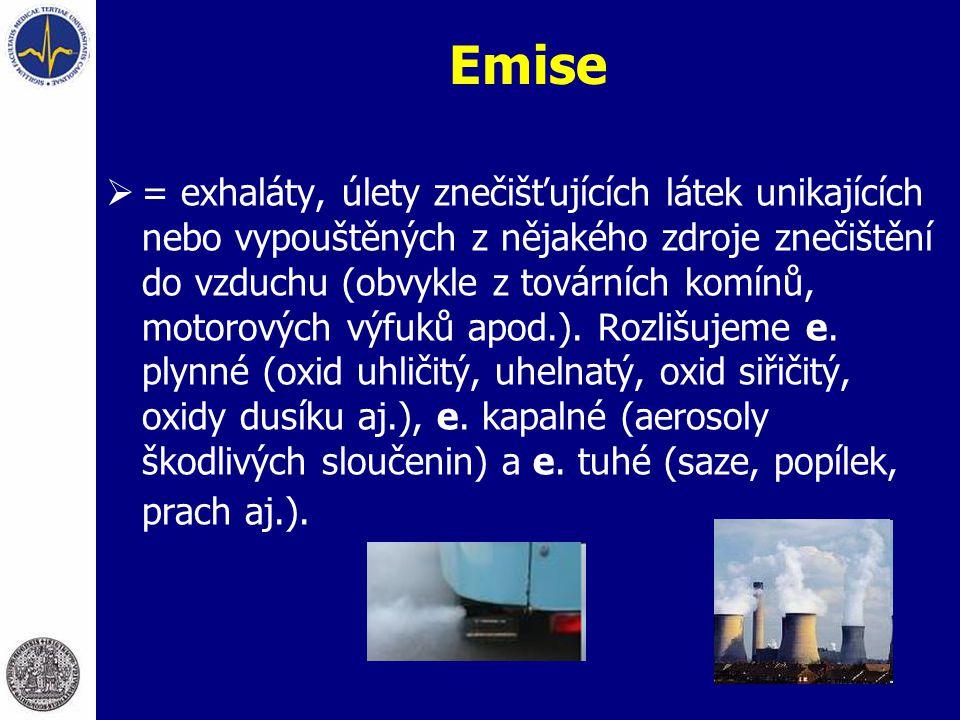 Emise  = exhaláty, úlety znečišťujících látek unikajících nebo vypouštěných z nějakého zdroje znečištění do vzduchu (obvykle z továrních komínů, moto
