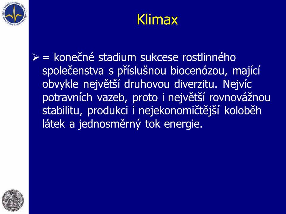 Klimax  = konečné stadium sukcese rostlinného společenstva s příslušnou biocenózou, mající obvykle největší druhovou diverzitu. Nejvíc potravních vaz