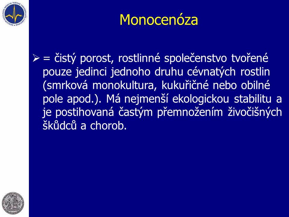 Monocenóza  = čistý porost, rostlinné společenstvo tvořené pouze jedinci jednoho druhu cévnatých rostlin (smrková monokultura, kukuřičné nebo obilné