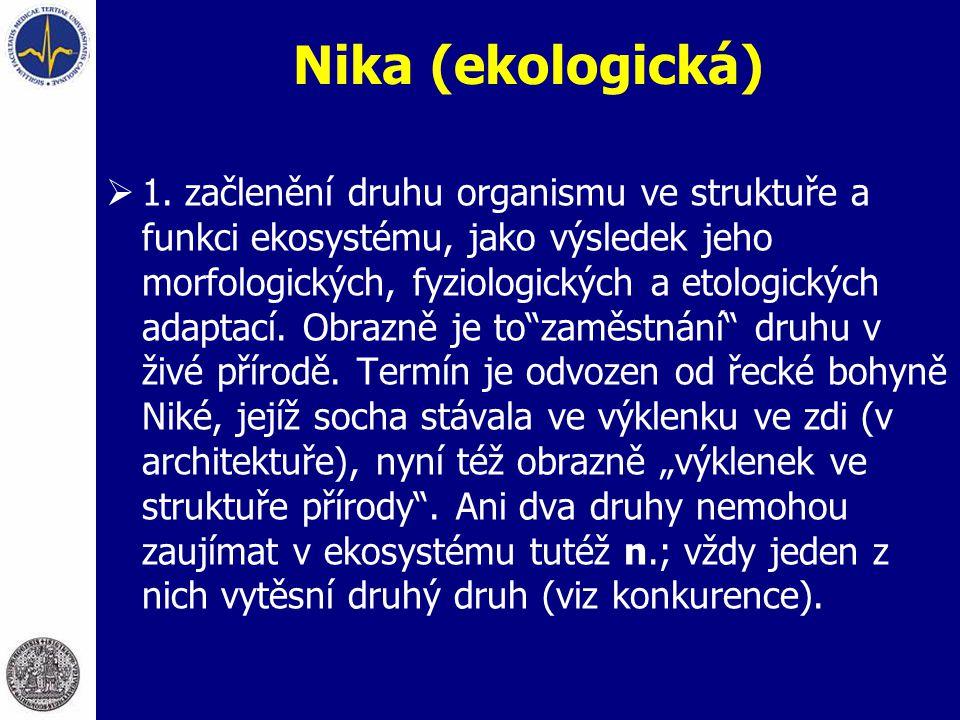 Nika (ekologická)  1. začlenění druhu organismu ve struktuře a funkci ekosystému, jako výsledek jeho morfologických, fyziologických a etologických ad