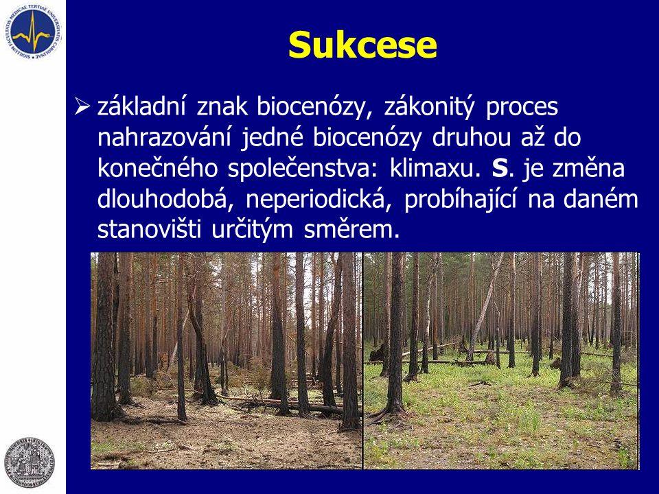 Sukcese  základní znak biocenózy, zákonitý proces nahrazování jedné biocenózy druhou až do konečného společenstva: klimaxu. S. je změna dlouhodobá, n