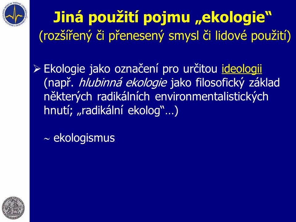 """Jiná použití pojmu """"ekologie"""" (rozšířený či přenesený smysl či lidové použití)  Ekologie jako označení pro určitou ideologii (např. hlubinná ekologie"""