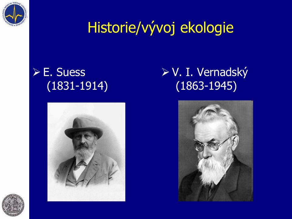 Historie/vývoj ekologie  E. Suess (1831-1914)  V. I. Vernadský (1863-1945)