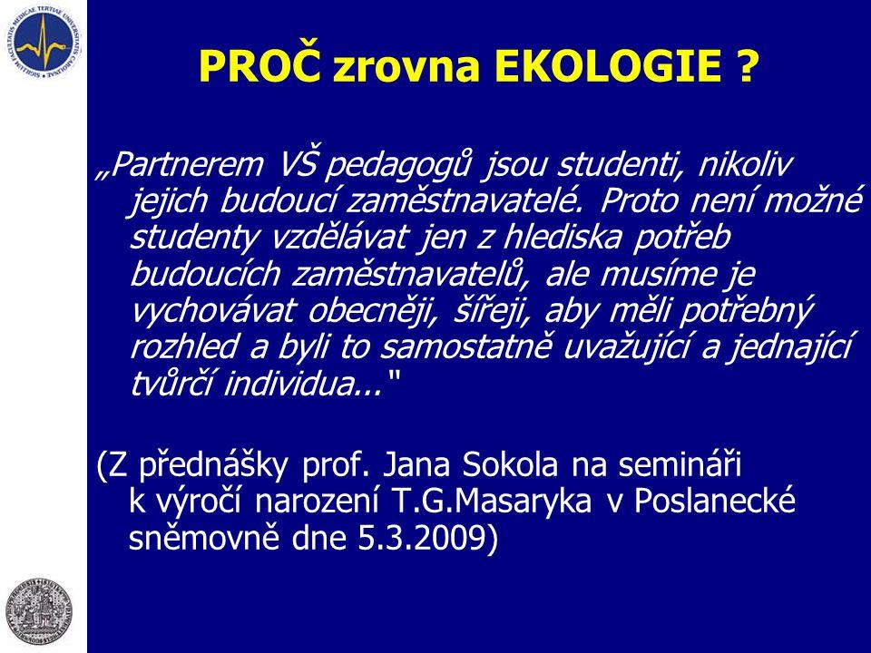 Příklad: vztah organismů a prostředí (vztah mezi nadmořskou výškou a složením rostlinných společenstev ve středoevropské krajině)