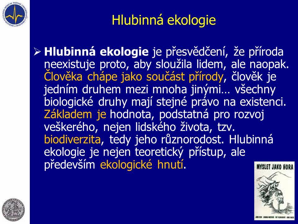 Hlubinná ekologie  Hlubinná ekologie je přesvědčení, že příroda neexistuje proto, aby sloužila lidem, ale naopak. Člověka chápe jako součást přírody,