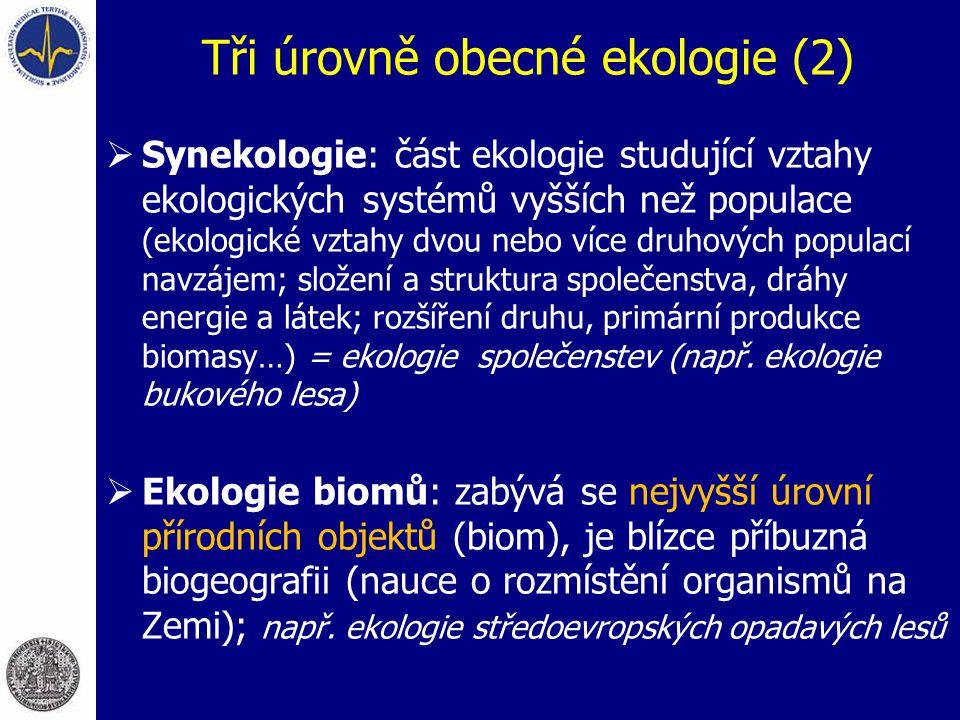 Tři úrovně obecné ekologie (2)  Synekologie: část ekologie studující vztahy ekologických systémů vyšších než populace (ekologické vztahy dvou nebo ví