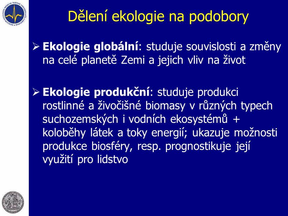 Dělení ekologie na podobory  Ekologie globální: studuje souvislosti a změny na celé planetě Zemi a jejich vliv na život  Ekologie produkční: studuje
