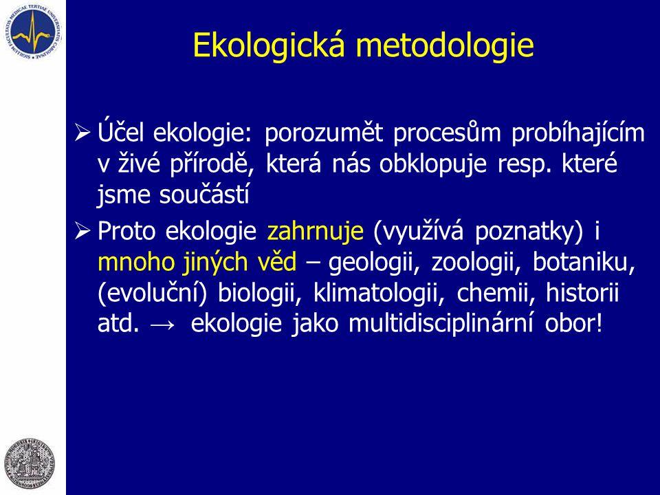 Ekologická metodologie  Účel ekologie: porozumět procesům probíhajícím v živé přírodě, která nás obklopuje resp. které jsme součástí  Proto ekologie