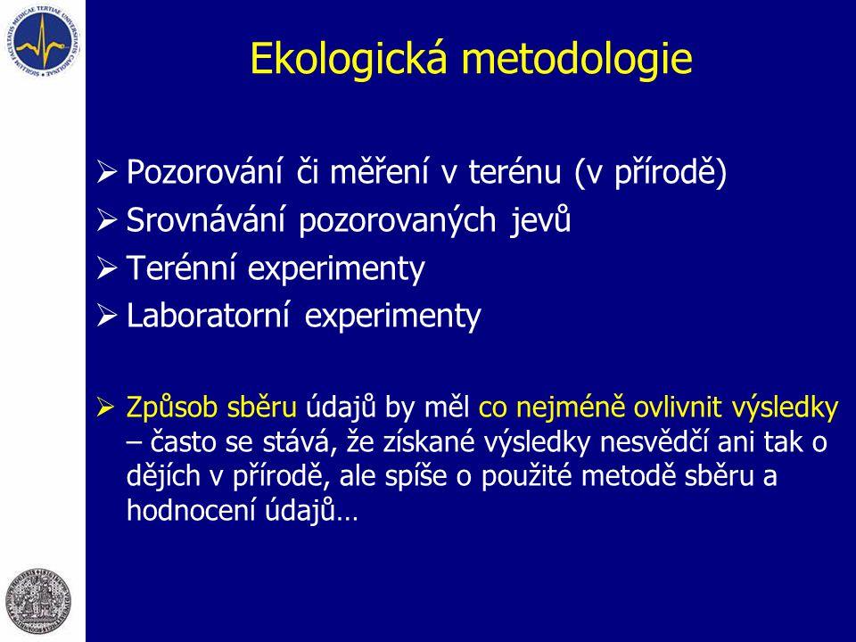 Ekologická metodologie  Pozorování či měření v terénu (v přírodě)  Srovnávání pozorovaných jevů  Terénní experimenty  Laboratorní experimenty  Zp