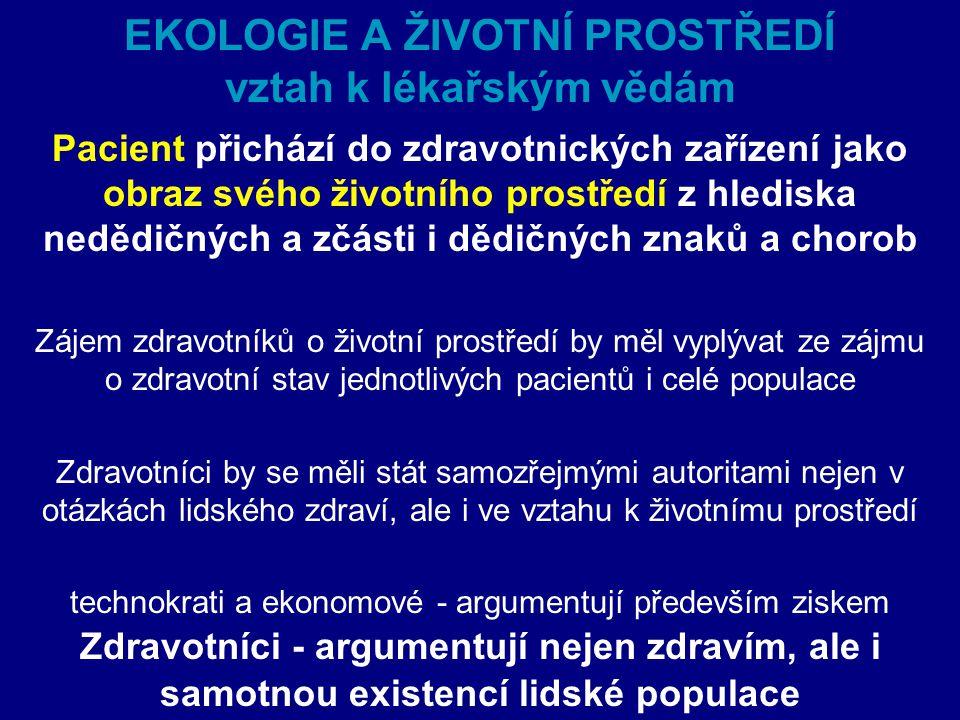 Vztah ŽP k lékařským vědám Zoonózy - epidemiologie  Nemoc – výsledek endogenních faktorů (fyziologické procesy) a exogeních faktorů (vlivy životního prostředí).