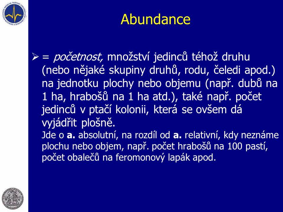 Abundance  = početnost, množství jedinců téhož druhu (nebo nějaké skupiny druhů, rodu, čeledi apod.) na jednotku plochy nebo objemu (např. dubů na 1