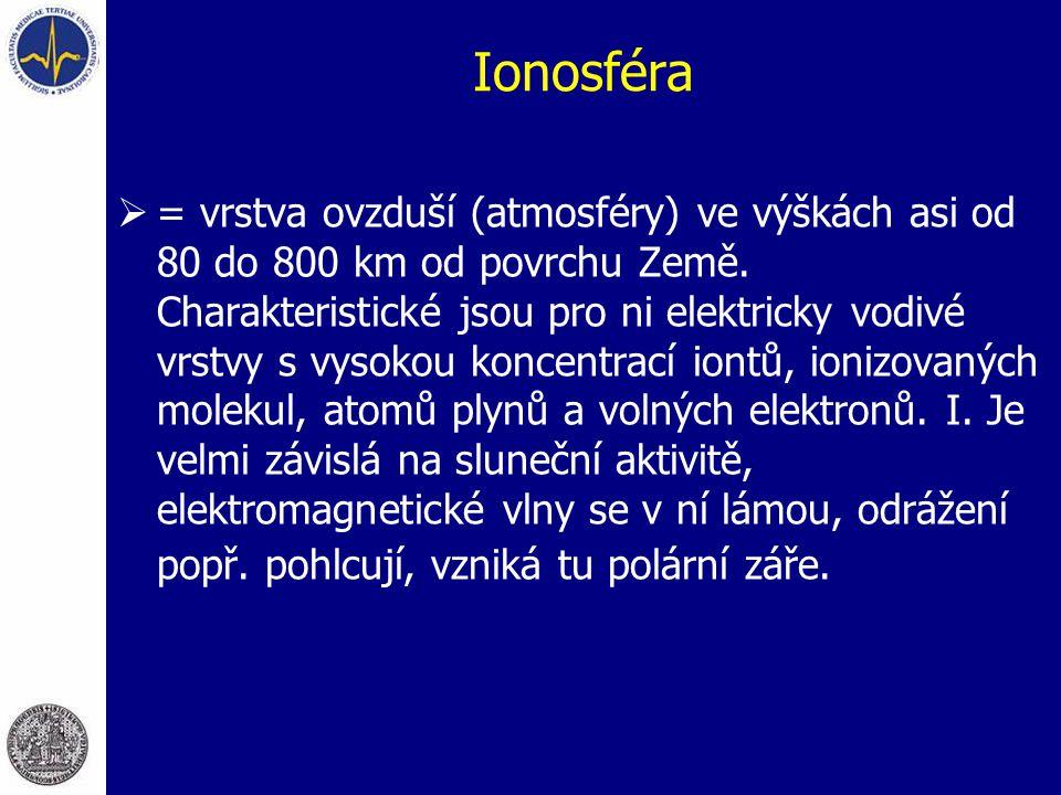 Ionosféra  = vrstva ovzduší (atmosféry) ve výškách asi od 80 do 800 km od povrchu Země. Charakteristické jsou pro ni elektricky vodivé vrstvy s vysok