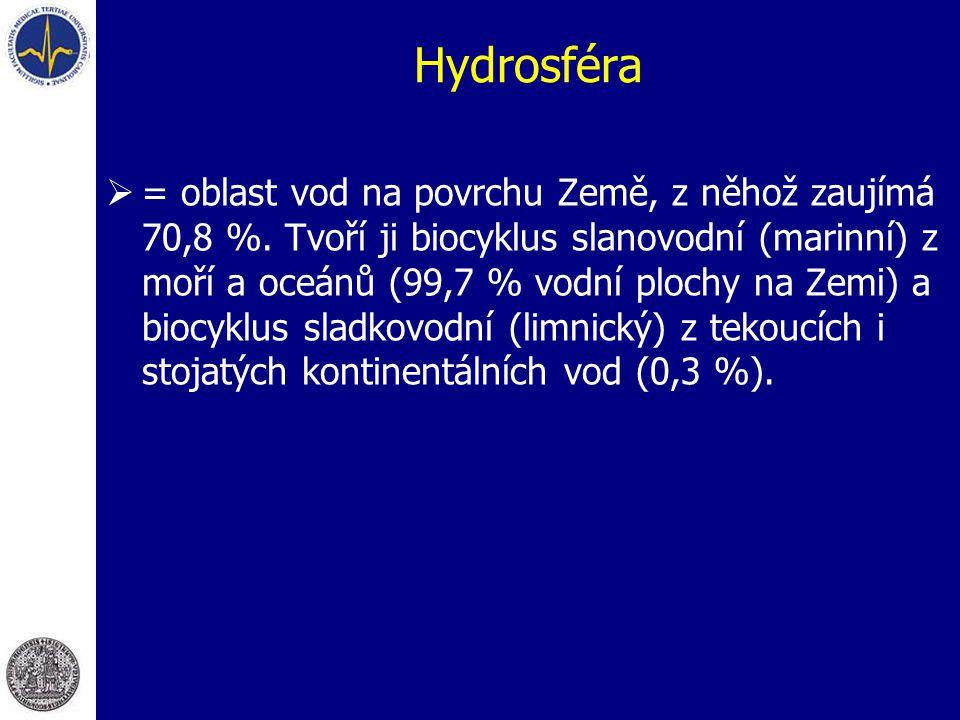 Hydrosféra  = oblast vod na povrchu Země, z něhož zaujímá 70,8 %. Tvoří ji biocyklus slanovodní (marinní) z moří a oceánů (99,7 % vodní plochy na Zem