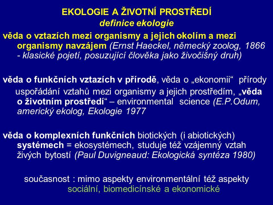 EKOLOGIE A ŽIVOTNÍ PROSTŘEDÍ definice ekologie věda o vztazích mezi organismy a jejich okolím a mezi organismy navzájem (Ernst Haeckel, německý zoolog