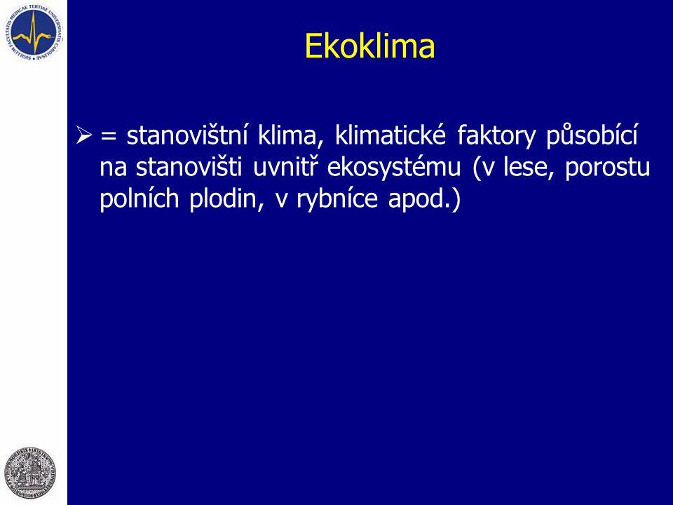 Ekoklima  = stanovištní klima, klimatické faktory působící na stanovišti uvnitř ekosystému (v lese, porostu polních plodin, v rybníce apod.)