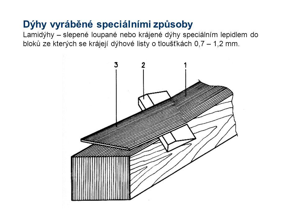 Dýhy vyráběné speciálními způsoby Lamidýhy – slepené loupané nebo krájené dýhy speciálním lepidlem do bloků ze kterých se krájejí dýhové listy o tloušťkách 0,7 – 1,2 mm.