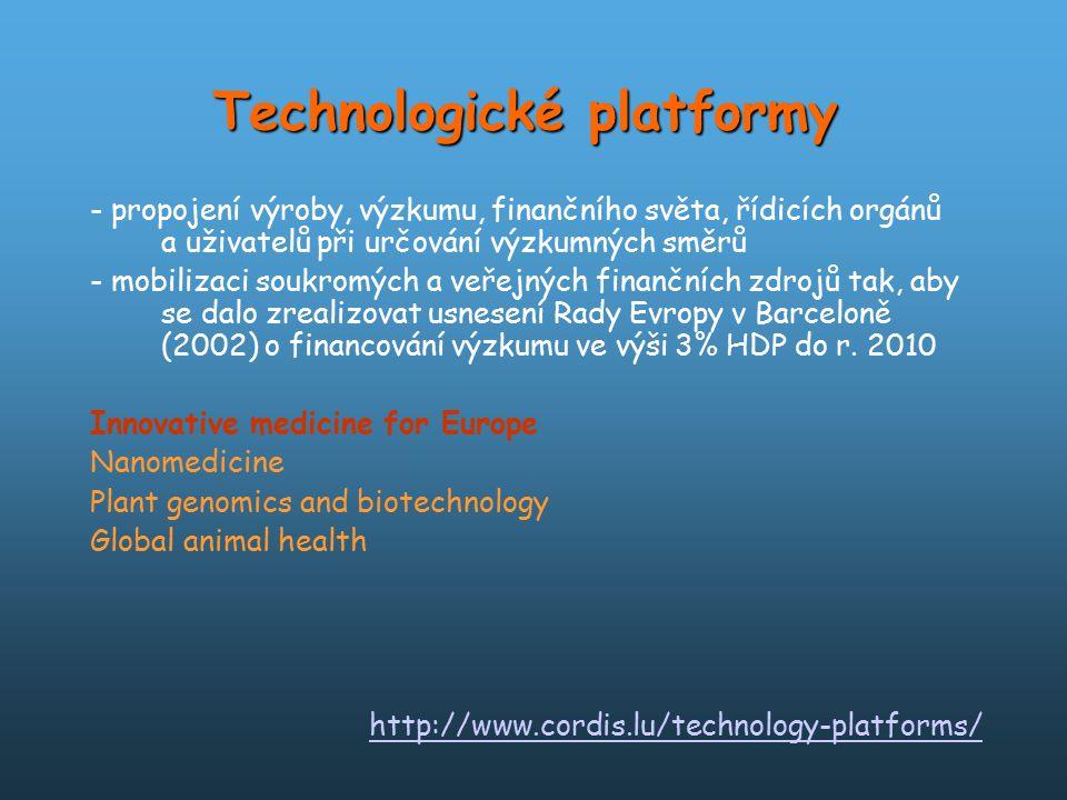 - propojení výroby, výzkumu, finančního světa, řídicích orgánů a uživatelů při určování výzkumných směrů - mobilizaci soukromých a veřejných finančníc