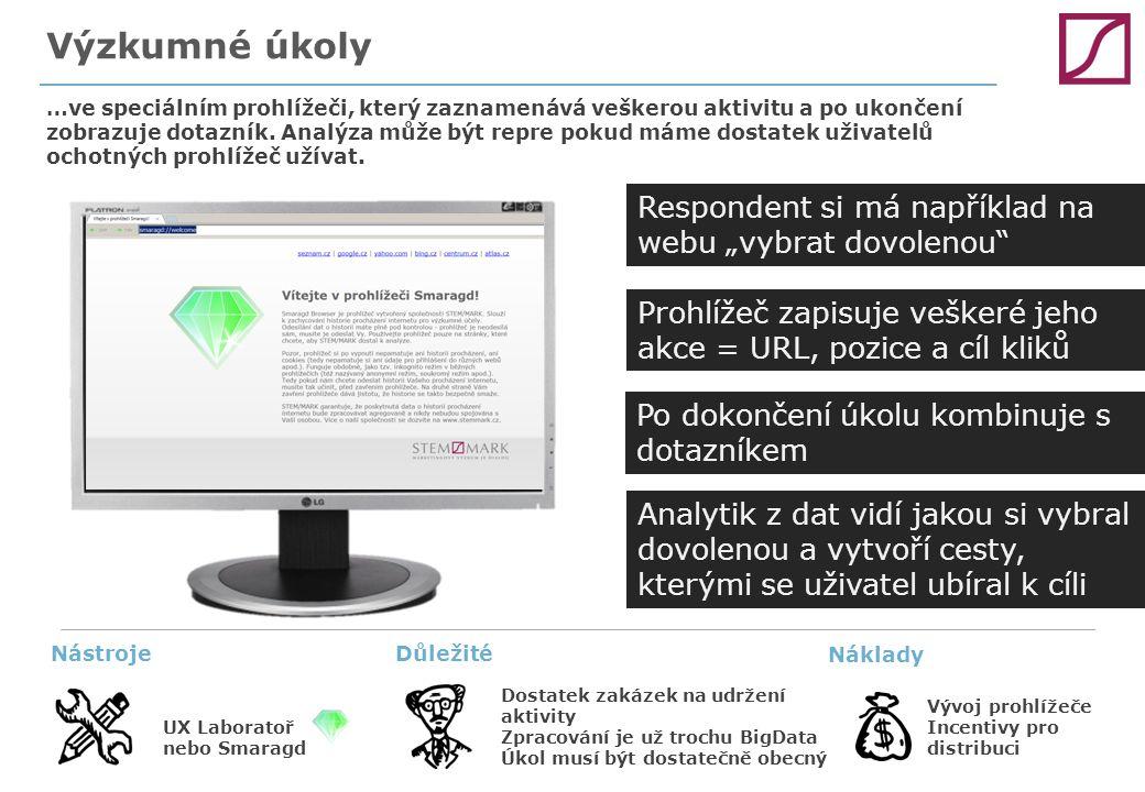 Výzkumné úkoly …ve speciálním prohlížeči, který zaznamenává veškerou aktivitu a po ukončení zobrazuje dotazník. Analýza může být repre pokud máme dost