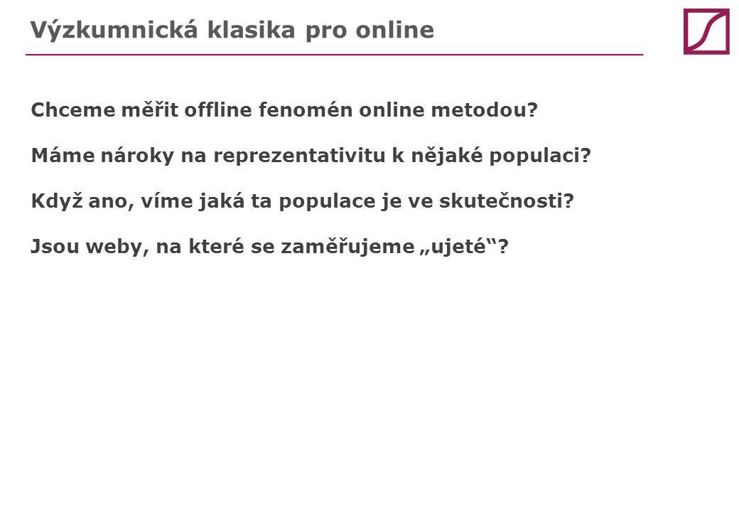 Výzkumnická klasika pro online Chceme měřit offline fenomén online metodou? Máme nároky na reprezentativitu k nějaké populaci? Když ano, víme jaká ta