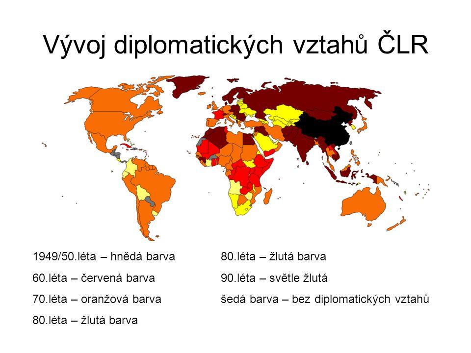 Vývoj diplomatických vztahů ČLR 1949/50.léta – hnědá barva80.léta – žlutá barva 60.léta – červená barva90.léta – světle žlutá 70.léta – oranžová barva
