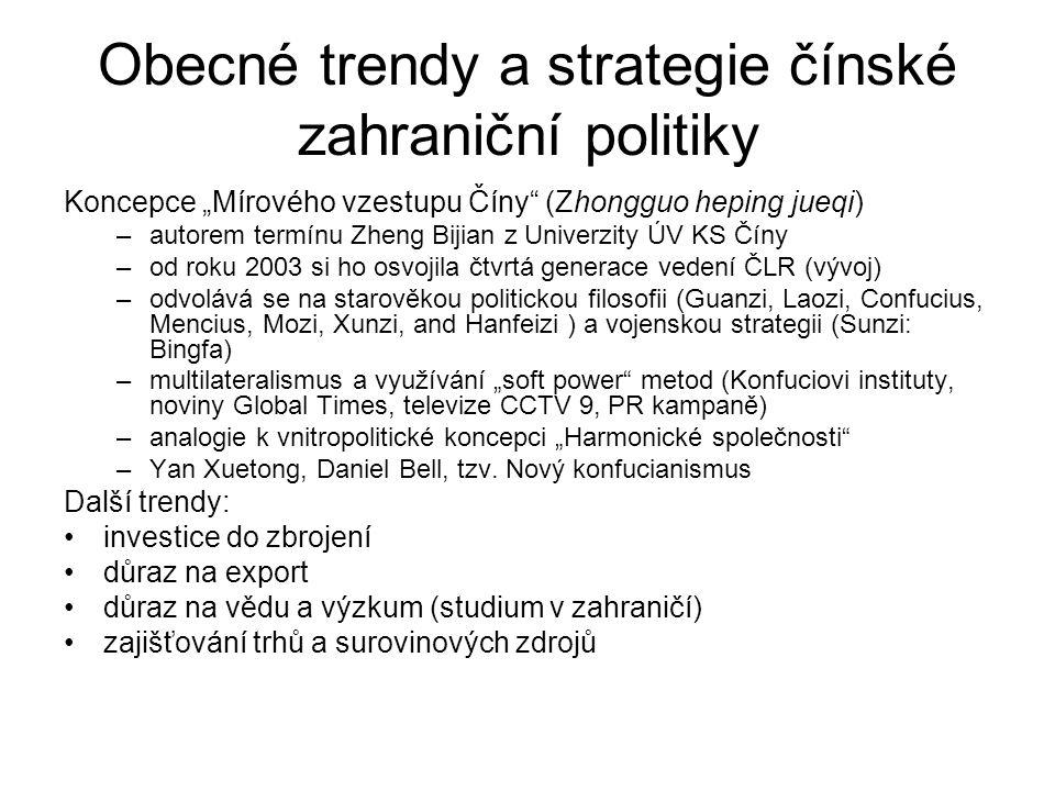 """Obecné trendy a strategie čínské zahraniční politiky Koncepce """"Mírového vzestupu Číny"""" (Zhongguo heping jueqi) –autorem termínu Zheng Bijian z Univerz"""